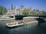 Tourist Boat on the River Seine  Paris  France  Europe