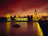 The River Thames and Houses of Parliament at Night  London  England  UK