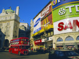 Double Decker Bus and Advertisements  Piccadilly Circus  London  England  UK