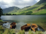 Boats on the Lake  Buttermere  Lake District National Park  Cumbria  England  UK
