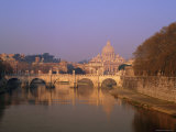 Dome of St Peters and Skyline of the Vatican Above the Tiber River  Rome  Lazio  Italy  Europe