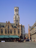 Bruges Square and Belfrey Tower  Bruges  Belgium
