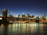 Brooklyn Bridge and Manhattan Skyline at Dusk  New York City  New York  USA