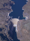 Aerial View of the Hoover Dam and Lake Mead  Nevada  USA