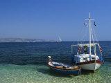 Greek Boats  Kalami Bay  Corfu  Ionian Islands  Greece  Europe
