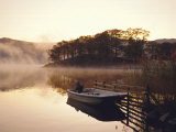 Early Morning Mist and Boat  Derwent Water  Lake District  Cumbria  England