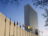 Line of Flags Outside the United Nations Building  Manhattan  New York City  USA