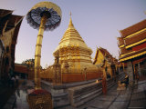 Buddhist Temple of Doi Suthep at Sunset  Chiang Mai  Chiang Mai Province  Thailand  Asia