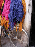 Brightly Dyed Wool Hanging Over Bicycle  Marrakech  Morrocco  North Africa  Africa