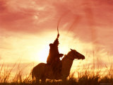 Profile of a Stockman on a Horse Against the Sunset  Queensland  Australia  Pacific