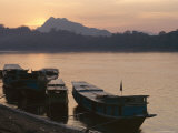 Boats on the Mekong River at Sunset  Luang Prabang  Laos  Indochina  Southeast Asia  Asia