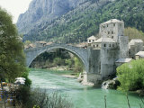 The Turkish Bridge Over the River Neretva Dividing the Town  Mostar  Bosnia  Bosnia-Herzegovina