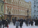 Moscow Street in Winter  Russia