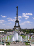 The Eiffel Tower with Water Fountains  Paris  France