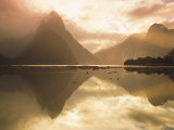 New Zealand  South Island  Milford Sound  Mitre Peak at Sunset