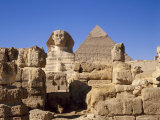 The Great Sphinx and the Chephren Pyramid  Giza  Cairo  Egypt  Africa