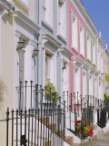 Terraced Houses and Wrought Iron Railings  Kensington  London  England  UK