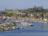Harbour  Abbey and St Mary's Church  Whitby  Yorkshire  England  UK  Europe