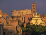 View Across the Roman Forum Towards Colosseum and St Francesco Romana  Rome  Lazio  Italy  Europe