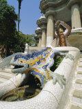 Mozaic Lizard Sculpture by Gaudi  Guell Park  Barcelona  Catalonia  Spain  Europe