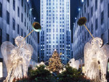 Angels at the Rockerfeller Centre  Decorated for Christmas  New York City  USA
