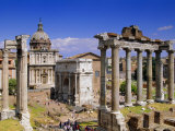Temple of Saturn and Santi Lucia E Martina  Forum  Rome  Lazio  Italy  Europe