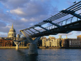 Millennium Bridge and St Pauls  London  England