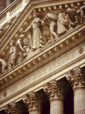 Detail of the New York Stock Exchange Facade  Manhattan  New York City  USA