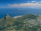 Aerial View Over Lion's Head from Table Mountain  Cape Town  South Africa