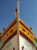 Close up of the Prow of a Traditional Painted Fishing Boat  Albufeira  Algarve  Portugal