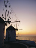 The Lower Windmills (Kato Myli) at Sunset  Mykonos  Cyclades Islands  Greece  Europe