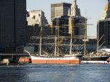Historic Boats Moored at Pier 17 on the East River  Manhattan  New York City  New York  USA
