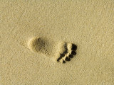 Child's Footprints on Beach at Santa Maria  Sal (Salt)  Cape Verde Islands  Africa