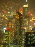 Aerial View of Hong Kong Skyscrapers at Night  China
