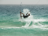 Kite Surfing at Santa Maria on the Island of Sal (Salt)  Cape Verde Islands  Atlantic Ocean  Africa