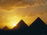 Sunset  the Pyramids  Giza  Unesco World Heritage Site  Cairo  Egypt  North Africa  Africa