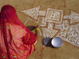 Woman Painting a Mandala Design on the Ground  Near Jodhpur  Rajasthan  India