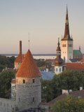 Medieval Town Walls and Spire of St Olav's Church at Dusk  Tallinn  Estonia  Baltic States
