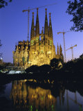 Gaudi Church Architecture  La Sagrada Familia Cathedral at Night  Barcelona  Catalunya  Spain