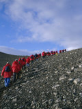 Tourists Ascending Recent Volcanic Cone  Antarctica  Polar Regions