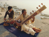 Musicians Playing the Sitar and Tabla on the Banks of the River Ganges  Varanasi  India