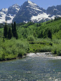 Maroon Bells Seen from Stream Rushing to Feed Maroon Lake Nearby  Rocky Mountains  USA