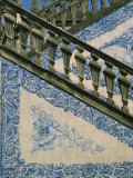 Detail of External Staircase Decorated with Azulejos (Tiles)  Algarve  Portugal