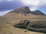 Birthplace of Moai  with Numerous Heads Left on Slopes  Volcan Rano Raraku  Easter Island  Chile