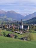 Saanen Village Church in Foreground  Switzerland