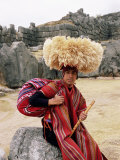 Portrait of a Young Peruvian Man in Traditional Dress  Cuzco  Peru