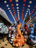 Girls Dancing a Sevillana Beneath Colourful Lanterns  Feria De Abril  Seville  Andalucia  Spain