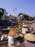 Women in Boats Selling Vegetables  Floating Market on the Lake  Inle Lake  Shan State  Myanmar