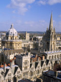 Aerial View Over the Dome of the Radcliffe Camera and a Spire of an Oxford College  England  UK