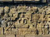 Relief Carvings on Frieze on Outside Wall of the Buddhist Temple  Borobodur  Java  Indonesia